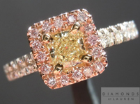 SOLD.....Yellow and Pink Diamond Ring: .35ct Y-Z VS1 Radiant Cut with Fancy Pink Diamond Halo R4400