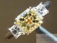 SOLD....Yellow Diamond Ring: 1.02ct Asscher Cut Fancy Light Yellow VS1 Three Stone Ring R1093