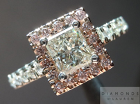 SOLD.... Diamond Halo Ring: .55ct K/I1 Princess Cut GIA with Pink Diamond Halo Laser Inscribed Great Value R4482