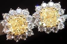 SOLD.....Yellow Diamond Earrings: 4.44ct Fancy Yellow Cushions and round Diamonds R4409