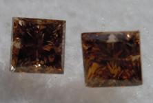 SOLD....Pair of Brown Diamonds: .51ctw Fancy Brown SI1 Princess Cut Diamonds R4504