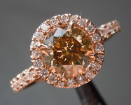 SOLD.......Brown Diamond Ring: 1.22ct Fancy Yellow Brown SI1 Round Brilliant Rose Gold Halo R4501
