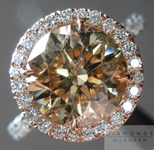 SOLD.....Brown Diamond Ring: 2.52ct Fancy Brown Yellow Round Brilliant Hand Forged Halo Ring- R4498