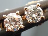 SOLD.... Diamond Earrings: .32ctw H-I/SI Round Brilliant Diamond Studs Rose Gold R2694