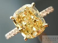 SOLD....Yellow Diamond Ring: 3.02ct Fancy Brownish Yellow Cushion Cut  Ring GIA R4513