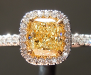 SOLD...Yellow Diamond Ring:.93ct Fancy Light Yellow SI1 Cushion Cut Diamond Halo Ring GIA R4515