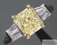 1.00ct Fancy Light Yellow SI1 Radiant Cut Diamond Ring R4521