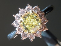 SOLD....Pink Diamond Halo with Yellow Cushion Cut Diamond: .73ct Fancy Intense Yellow VVS2 Cushion Cut GIA Vibrant Color R4532