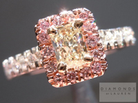 SOLD....Yellow and Pink Diamond Ring: .34ct W-X VS1 Radiant Cut with Fancy Pink Diamond Halo R4417