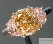 SOLD....Brown and Pink Diamond Ring: 1.51ct Fancy Dark Brownish Yellow SI2 Cushion Cut GIA with Pink Half Moon Side Stones R4516