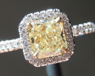 SOLD...Yellow Diamond Ring: 1.01ct Fancy Light Yellow VS1 Radiant Cut GIA Uber Halo R4523