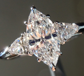 SOLD....Colorless Diamond Ring: 1.13ct E VS1 Marquise with Shield Diamond Side Stones GIA R4573