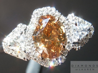 SOLD.... Orange-Brown Diamond Ring: 1.04ct Fancy Orange-Brown Lozenge Three Stone Halo Ring R4575