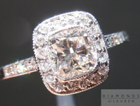 SOLD....Cushion Diamond Ring: .82ct G/VS2 Cushion Cut Diamond Halo Ring 14K Gold R4576