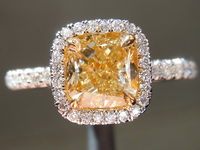 SOLD....Yellow Diamond Ring: 1.10ct Fancy Light Yellow Internally Flawless Cushion Cut GIA R4603