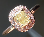 0.55ct Fancy Yellow SI1 Cushion Cut Diamond Ring R4610