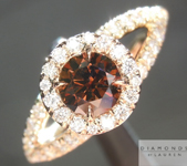 0.44ct Deep Orange Brown SI Round Brilliant Diamond Ring R4618