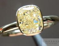 SOLD....Yellow Cushion Cut Diamond Ring. 1.06ct Fancy Light Yellow VS1 Cushion 18KT BEZEL R4626