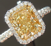 SOLD...Yellow Diamond Ring: 1.68ct Fancy Light Yellow VS1 Radiant Cut GIA Hand Forged Halo R4345