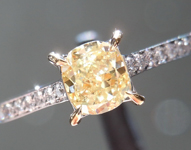 SOLD...Yellow Diamond Ring: .51ct Fancy Yellow Cushion Cut VS2 GIA Dainty Ring R4640