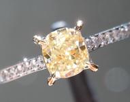 SOLD...Yellow Diamond Ring: .51ct Fancy Yellow Cushion Cut VS2 GIA Dainty Ring R4640