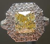 1.22ct Intense Yellow VS2 Radiant Cut Diamond Ring R4569