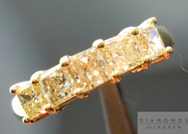 SOLD.... Yellow Diamond Ring: 1.12cts Natural Yellow Radiant Cut Diamond Five Stone Wedding Band R4650