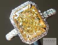 SOLD.....  Yellow Diamond Ring: 2.14ct Fancy Yellow VS2 Radiant GIA Diamond Halo Ring R4681