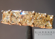SOLD....Yellow Diamond Ring: 1.62cts Fancy Yellow Radiant Cut Diamond Five Stone Wedding Band R4651