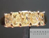 SOLD.....Yellow Diamond Ring: 1.33cts Fancy Light Yellow Radiant Cut Diamond Five Stone Band R4649