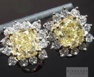 SOLD.......Yellow Diamond Earrings: 2.29cts Fancy Light Yellow VS1 Cushion Cut Halo Earrings R4601