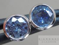 SOLD....Blue Sapphire Earrings: 1.10cts Blue Round Brilliant Sapphire Bezel Set Studs R4560