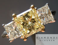 SOLD....Yellow Diamond Ring: 1.26ct Fancy Light Yellow Princess Cut GIA Three Stone Ring Trade Up Special R4697