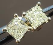 SOLD....Yellow Diamond Earrings: .84cts W-X SI1-2 Princess Cut Stud Earrings R4591