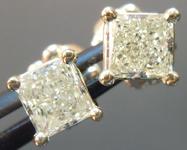 SOLD...Yellow Diamond Earrings: .64cts W-X VS2 Princess Cut Diamond Stud Earrings R4597
