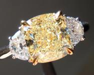 SOLD...Yellow Diamond Ring: 2.01ct W-X VS1 Cushion Cut GIA Three Stone Ring R4764