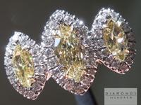 SOLD.....Yellow Diamond Ring: .69cts Fancy Yellow VS Marquise Three Stone Diamond Halo Ring R4656