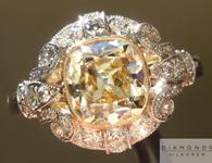 SOLD.....Yellow Diamond Ring: 1.78ct W-X/VS1 Branded DBL Modern Antique Diamond GIA Antique Style Filigree Ring R4770