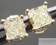 SOLD....Yellow Diamond Earrings: .70cts W-X SI1-2 Princess Cut Diamond Stud Earrings R4595