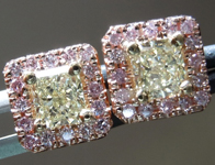 """SOLD... Yellow Diamond Earrings: .74cts Y-Z, Natural Light Yellow Diamond Halo """"Pink Lemonade"""" Earrings R4635"""