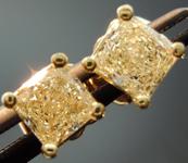 SOLD....Yellow Diamond Earrings: .79cts W-X, Natural Light Yellow SI1 Princess Cut Stud Earrings R4593