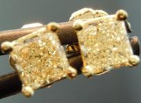SOLD...Yellow Diamond Earrings: .61cts W-X SI1-2 Princess Cut Diamond Stud Earrings R4596