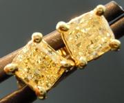 SOLD.....Yellow Diamond Earrings: 1.00cts Y-Z I1 Radiant Cut Diamond Stud Earrings R4634