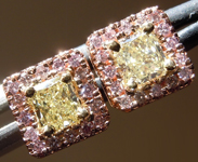 SOLD....Pink and Yellow Diamond Earrings: .67cts Y-Z VS Radiant Cut with Pink Diamond Halo R4636