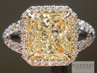 SOLD...Yellow Diamond Ring: 2.12ct W-X VS2 Radiant Cut GIA Diamond Halo Split Shank Ring R4316