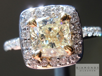 SOLD.......Yellow Diamond Ring: 1.01ct Y-Z VS1 Cushion Cut GIA Special Price R4859