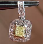 0.32ct Fancy Yellow SI1 Cushion Cut Diamond Pendant R4889