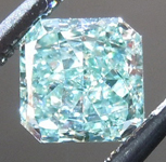 SOLD.....Blue-Green Diamond: .44ct Fancy Intense Blue-Green SI1 Radiant Cut GIA Amazing Color R4913