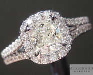 SOLD....Colorless Diamond Ring: .62ct J SI1 Cushion Cut GIA Split Shank Halo Ring R4917