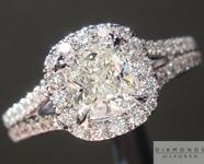 SOLD....Colorless Diamond Ring: .62ct J SI1 Cushion Cut GIA Split Shank Halo Ring R4917